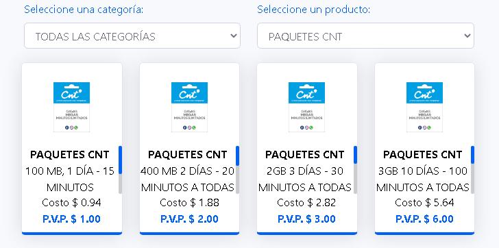 COMISIONES PAQUETES CNT